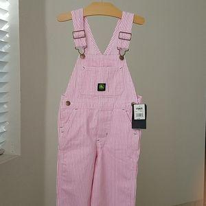 John Deere Toddler Girl Pink/White Stripe Overalls